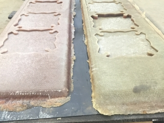 Pieces of fiberglass cut by a Water Jet