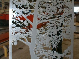 "1/8"" aluminum water jet cut tree silhouette for entry gate"